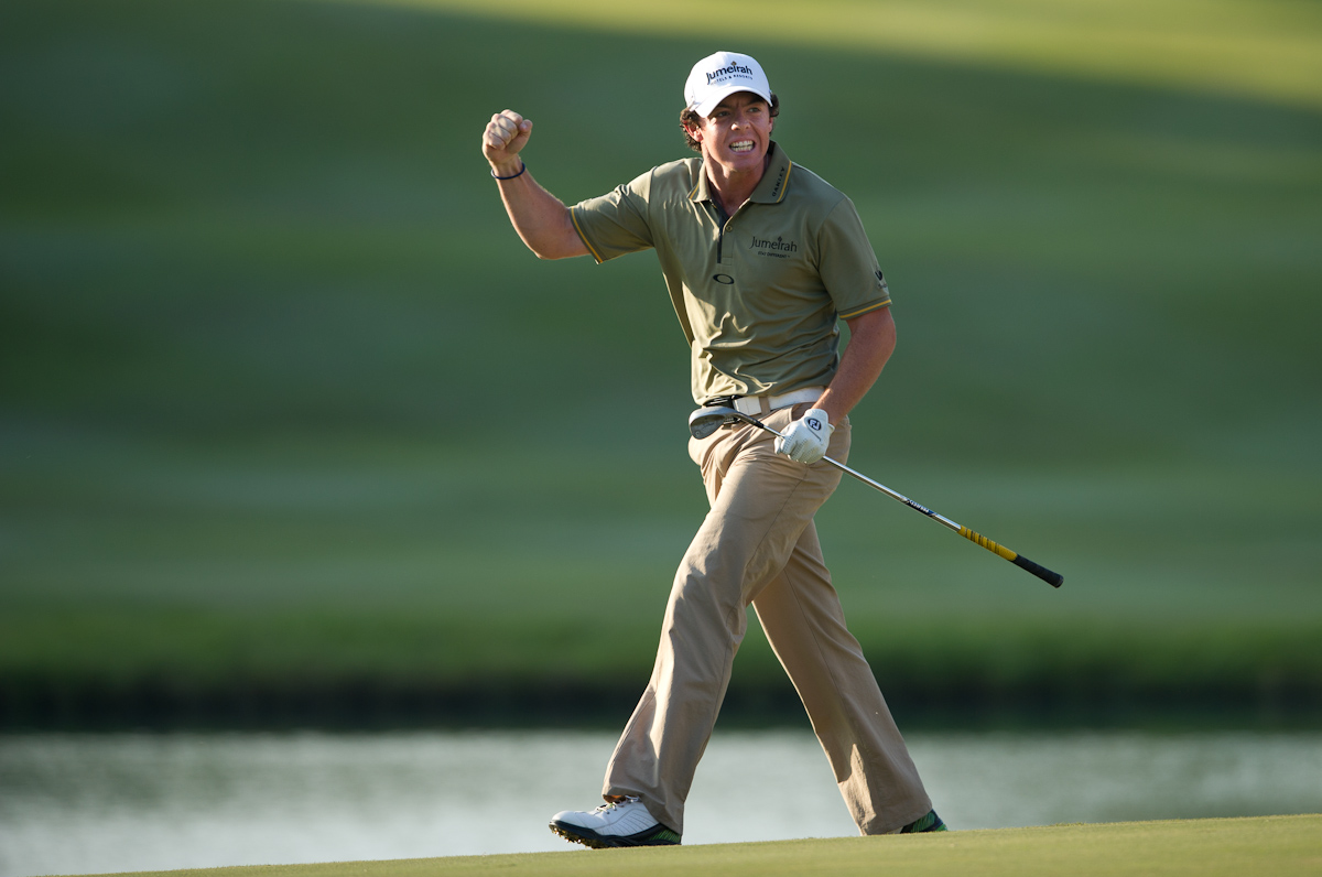 Rory McIlroy celebrates after winning the Hong Kong Open 2011