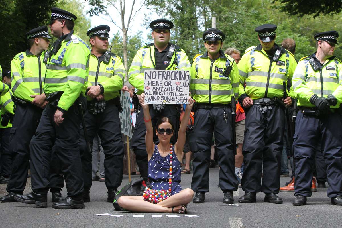 An anti-fracking protester in Balcombe, UK, on August 18th, 2013.