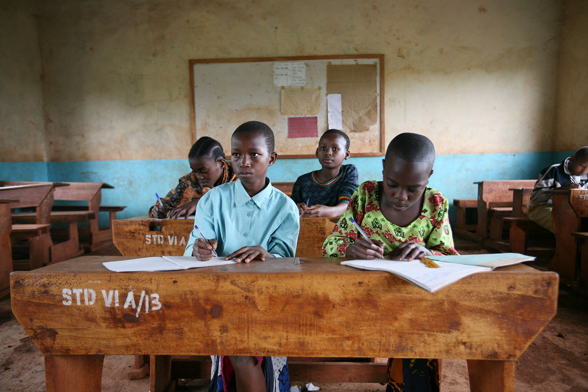 A class in session for 12-year-olds at the M Saranga Primary School outside of Moshi, Tanzania, on June 18, 2008.