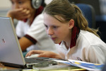 A student at work during an IT class at the Dubai English Speaking College in Academic City, on February 12, 2008.