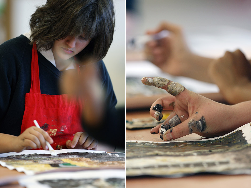 Students at work during an art class at the Dubai English Speaking College in Academic City, on February 12, 2008.
