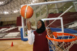Warda Mohammed, 20 yrs. old, who plays for the Qatar Women's National Basketball Team, at the Aspire Academy for Sports Excellence, in Doha, Qatar, on March 27, 2008.
