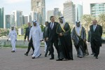 Gordon Brown, Prime Minister of the UK, arrives at the Dubai International Financial Centre (DIFC), along with Dr. Omar Bin Sulaiman, the Governor of DIFC, on November 4, 2008. Brown's visit to Dubai is part of a wider tour of the region which includes visits to Saudi Arabia, Qatar and Abu Dhabi.