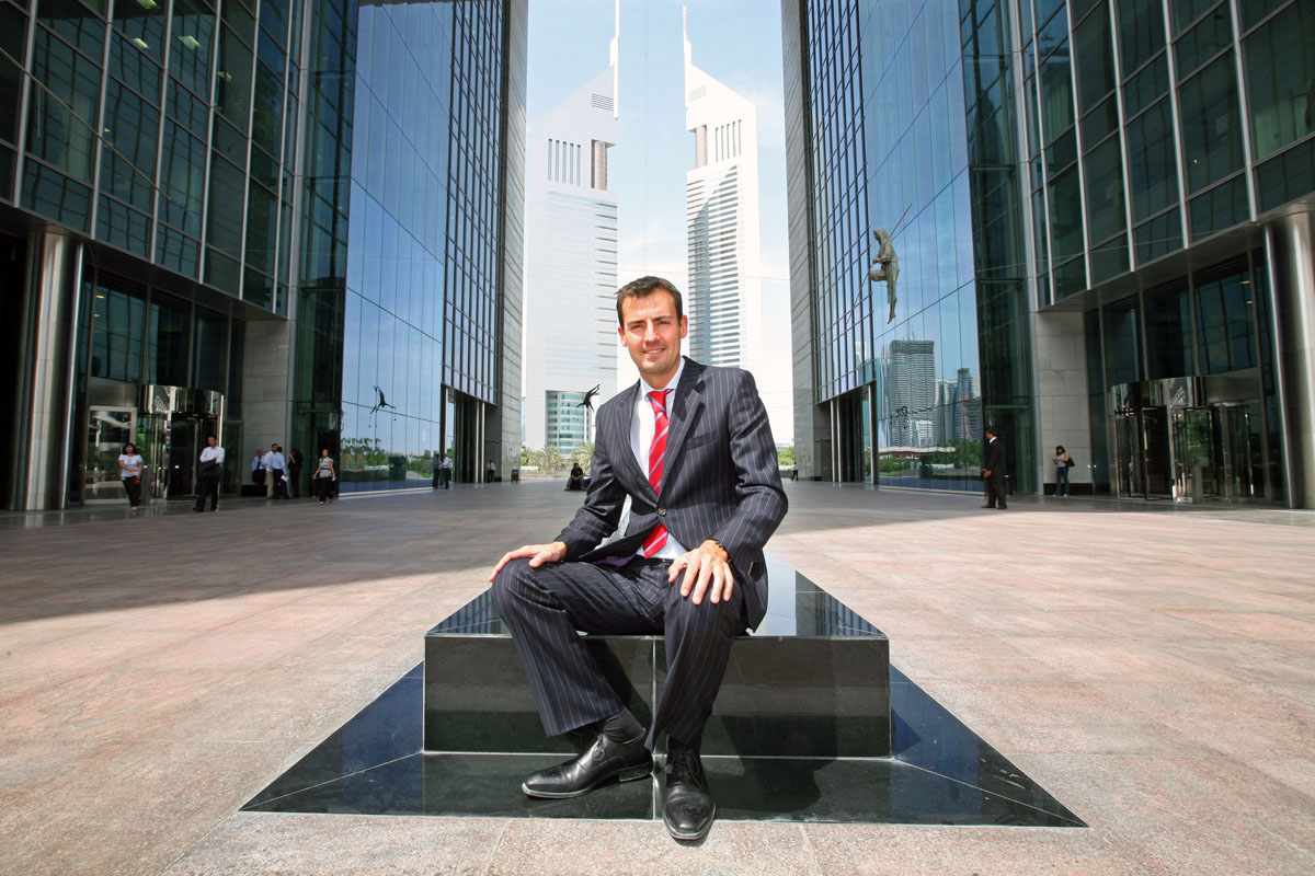 Gianluca Giardina, senior fund manager - MENA region, EIS Asset Management, at his workplace at the Dubai International Financial Centre (DIFC).