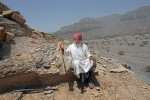 82-year-old Ali Rashid Al Dhuhoori, at his place of work in the village of Wadi Shaam located outside of Ras Al Khaimah, on May 30, 2010. Ali is the village headstone maker and each day he climbs his mountain to access the rock which he then cuts for the tombs.