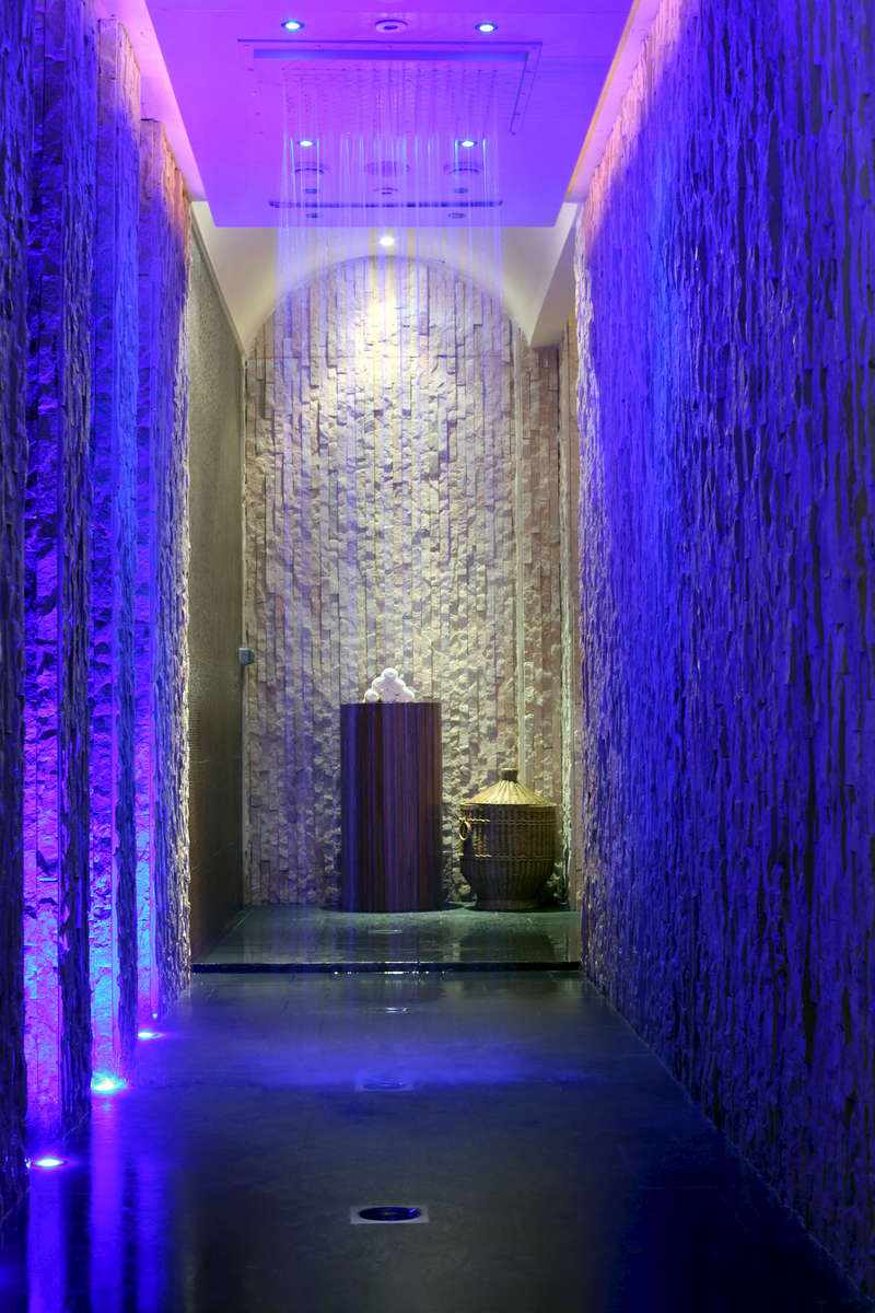 The rainwalk shower at The Rainforest, Banyan Tree Al Wadi resort in Ras Al Khaimah, UAE.