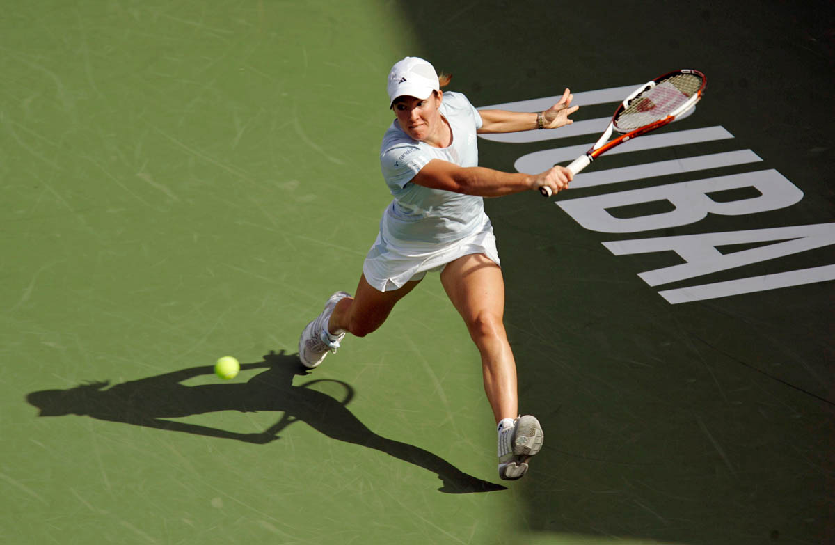 Justine Henin of Belgium (pictured) in action against Svetlana Kuznetsova of Russia during their semi-final match at the Dubai Tennis Championship on February 23, 2007.