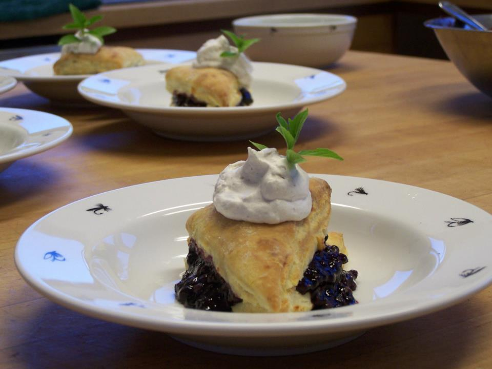 Brownbutter, blue cheese and black berry short cake!  Life is short, eat dessert first.