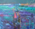 Cape Town at night. Mix media on canvas