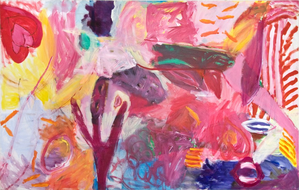 Powerful Pink Passionate Painting, For Sale 114 X 188cms, by Mary Collis