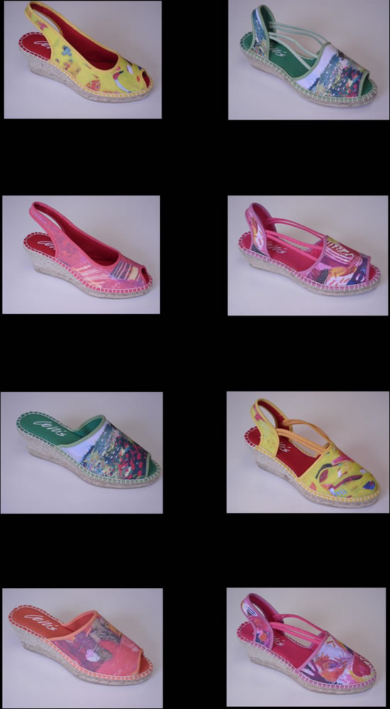 8 styles.   Very comfortable, made in Spain.order from maryjcollis@gmail.com / while stocks last