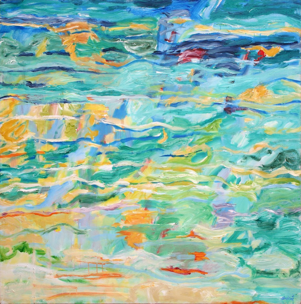 Warm Ocean (Indian Ocean), For Sale  154 X 154 cms, by Mary Collis