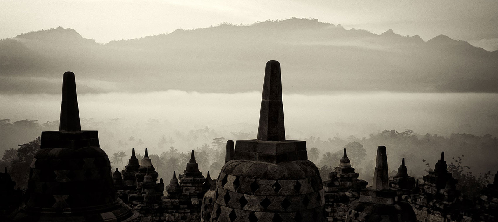 Borobudur i n Java — the world's largest Buddhist temple. 