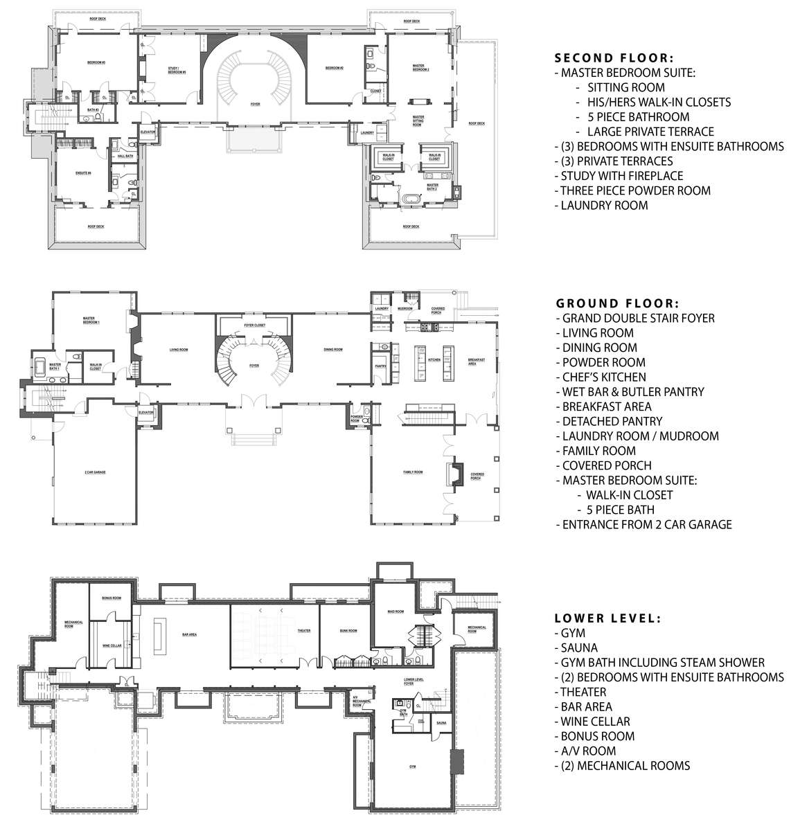 MAIN HOUSE FLOOR PLANS
