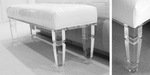 Lucite bench with upholstered top. * Custom sizing available.