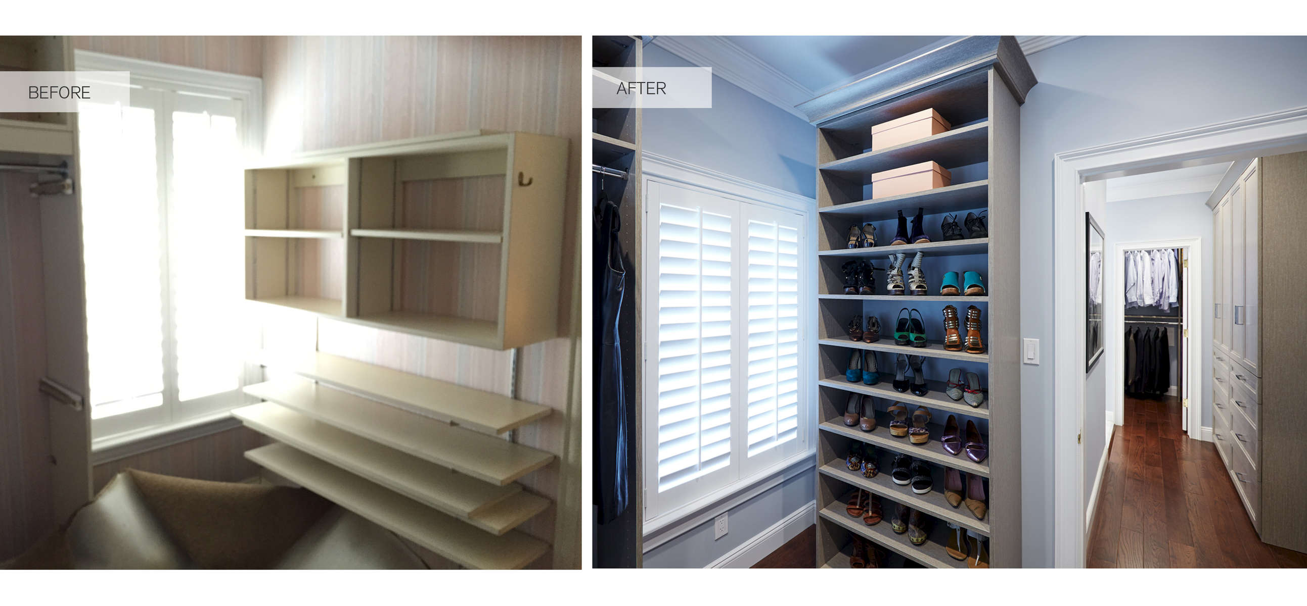 Reconfiguring the floor plan to better utilize an adjacent dressing area connecting the master bathroom to the master bedroom that bridges his and hers dedicated walk in closets. A more functional and stylish closet organizational system was installed the both closets.