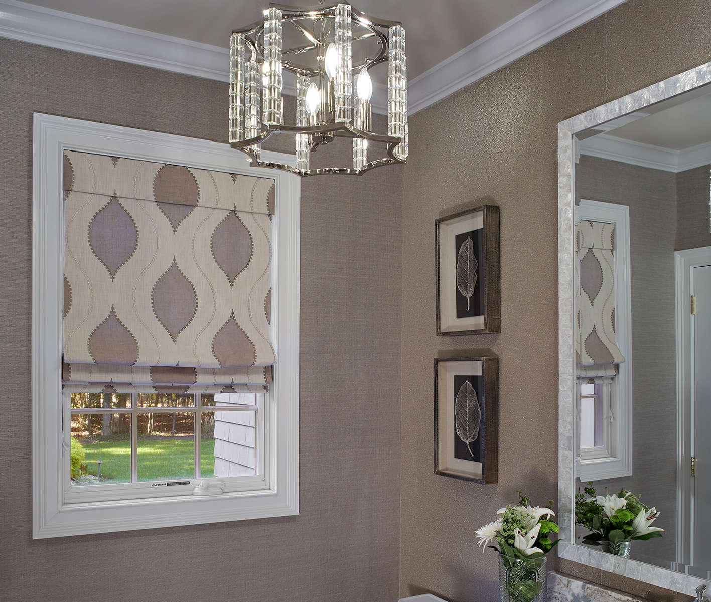 Belle Terre powder room renovation with glass bead wallcovering and custom roman shade