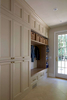 Belle Terre Mudroom Renovation with taupe shaker style cabinetry