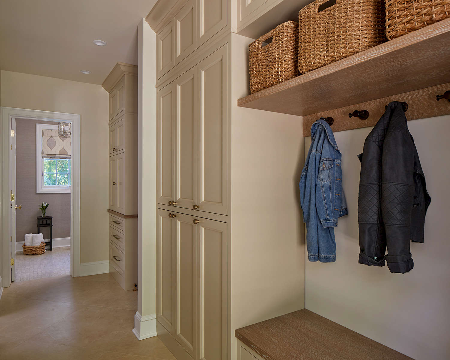 Mudroom Organization with Baskets & Hooks