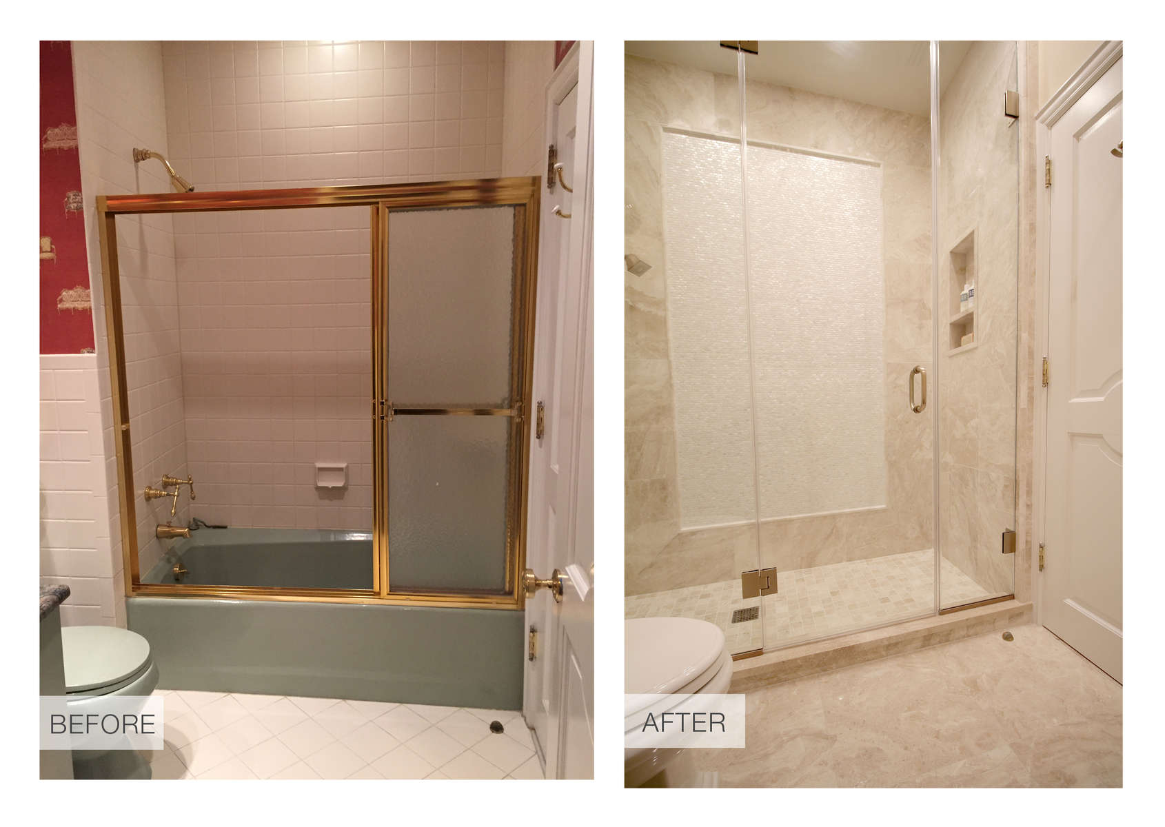 This ensuite guest bathroom benefited from a total renovation which included the removal of a door to the hallway, a soffit, and a largely unused bathtub.