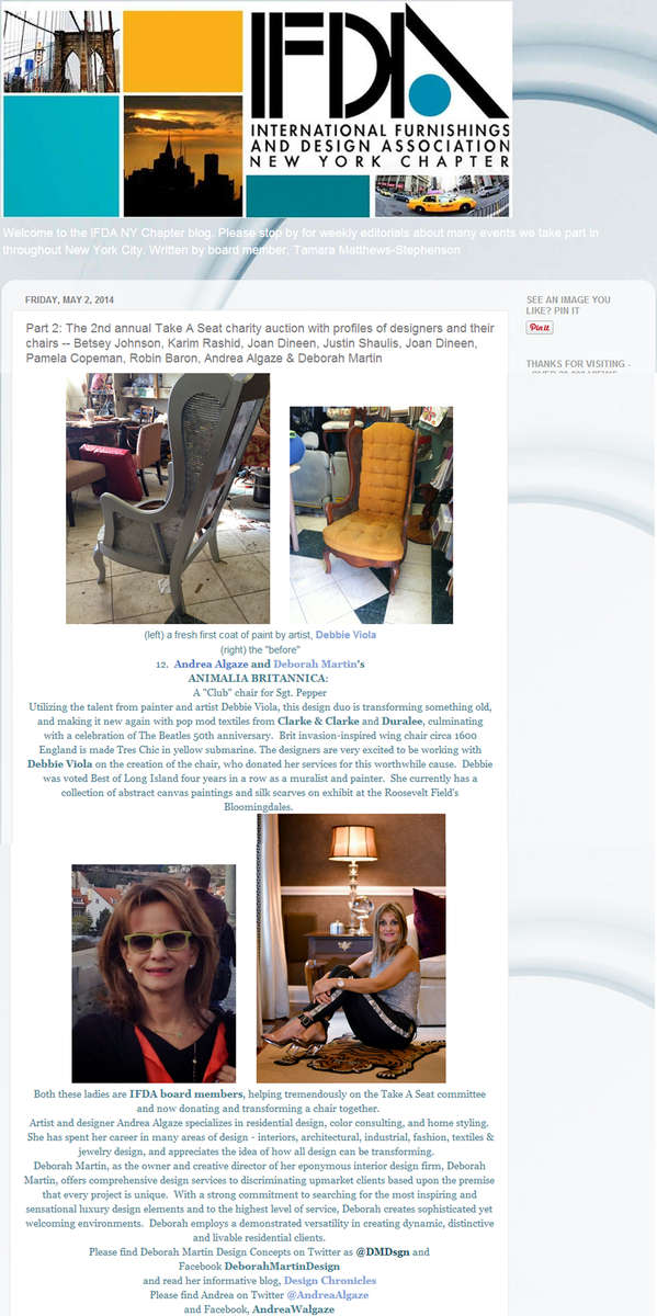 IFDA NY Chapter Blog{quote}Part 2: The 2nd annual Take A Seat charity auction with profiles of designers and their chairs.{quote}May 2014