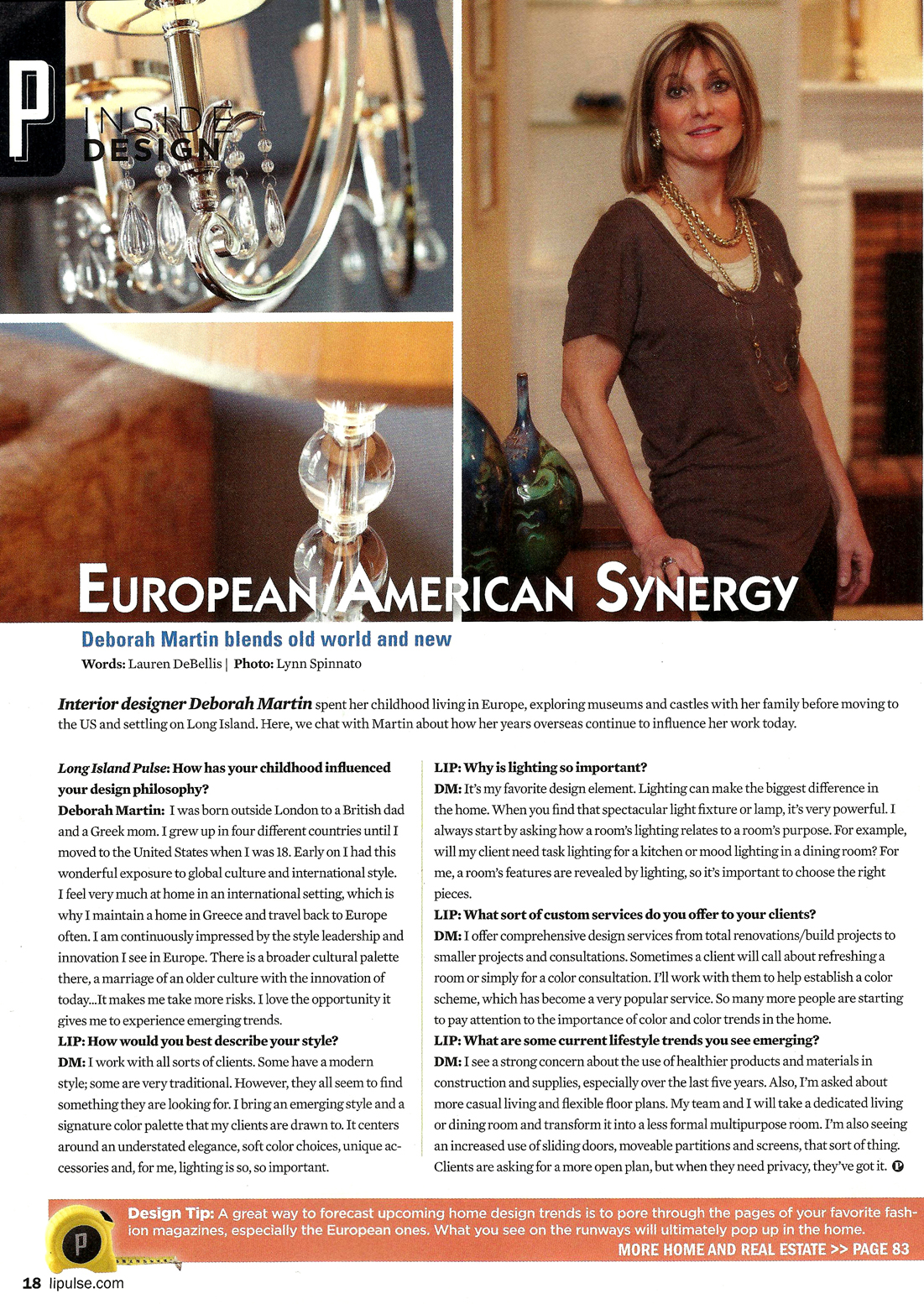 LI Pulse - March 2012Inside Design: Interview with Deborah Martin.