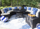 Outdoor Space with Curved Sectional Dining Table Set