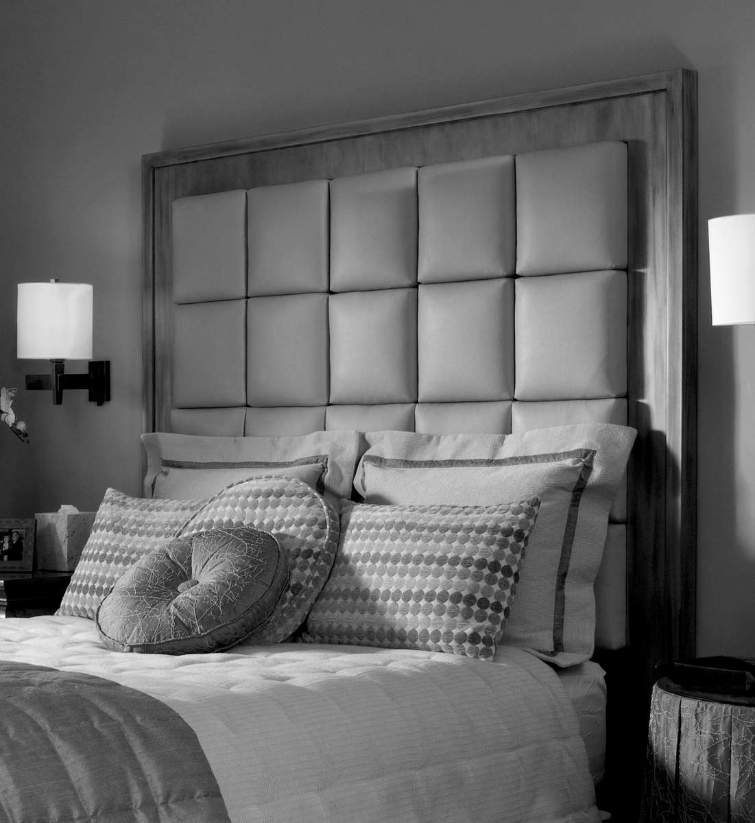 Headboard features custom wood finish frame and box pattern upholstery.* Fabric & wood finish may be substituted with customer's own preference.* Headboard frame also available in twin, full, queen, and king sizes.