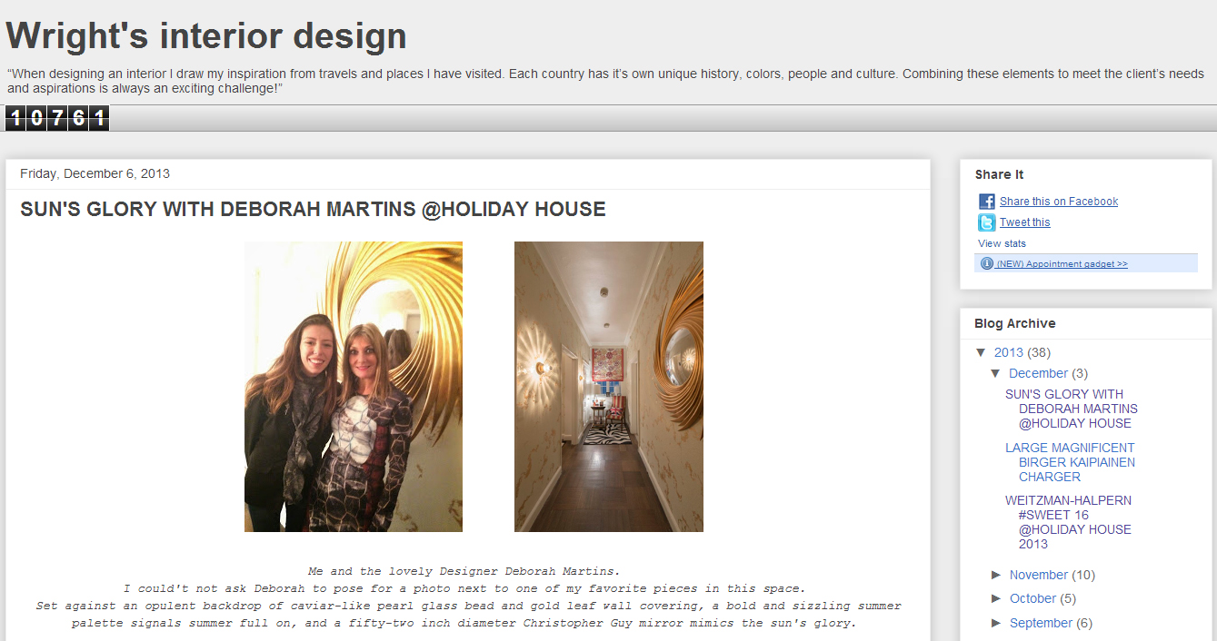 Wright's Interior DesignSUN'S GLORY WITH DEBORAH MARTINS @HOLIDAY HOUSE