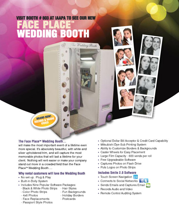 Deborah Martin Designs debuts its design of a wedding photo booth designed for a New York based national leader in photo booth manufacturing. It's unveiling in Orlando trade show, IAAPA Conference took place Nov. 14-18, 2011.