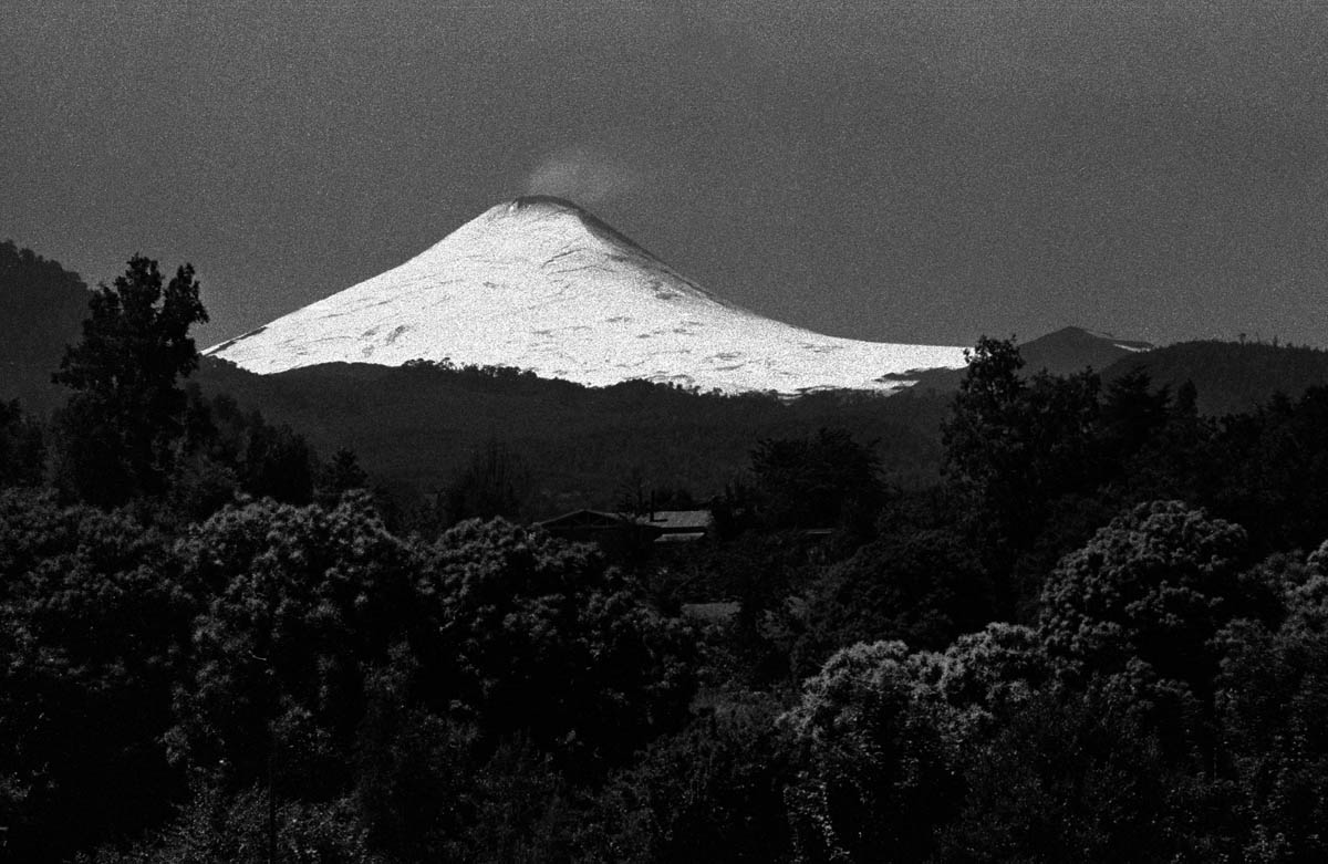 The Pucon volcano as seen from Conaripe. The region is well known for its high density of vulcanos aswell as its high seismic activity. The construction of dams in the area would increase the potential danger for the population in case of a violent earthquake.