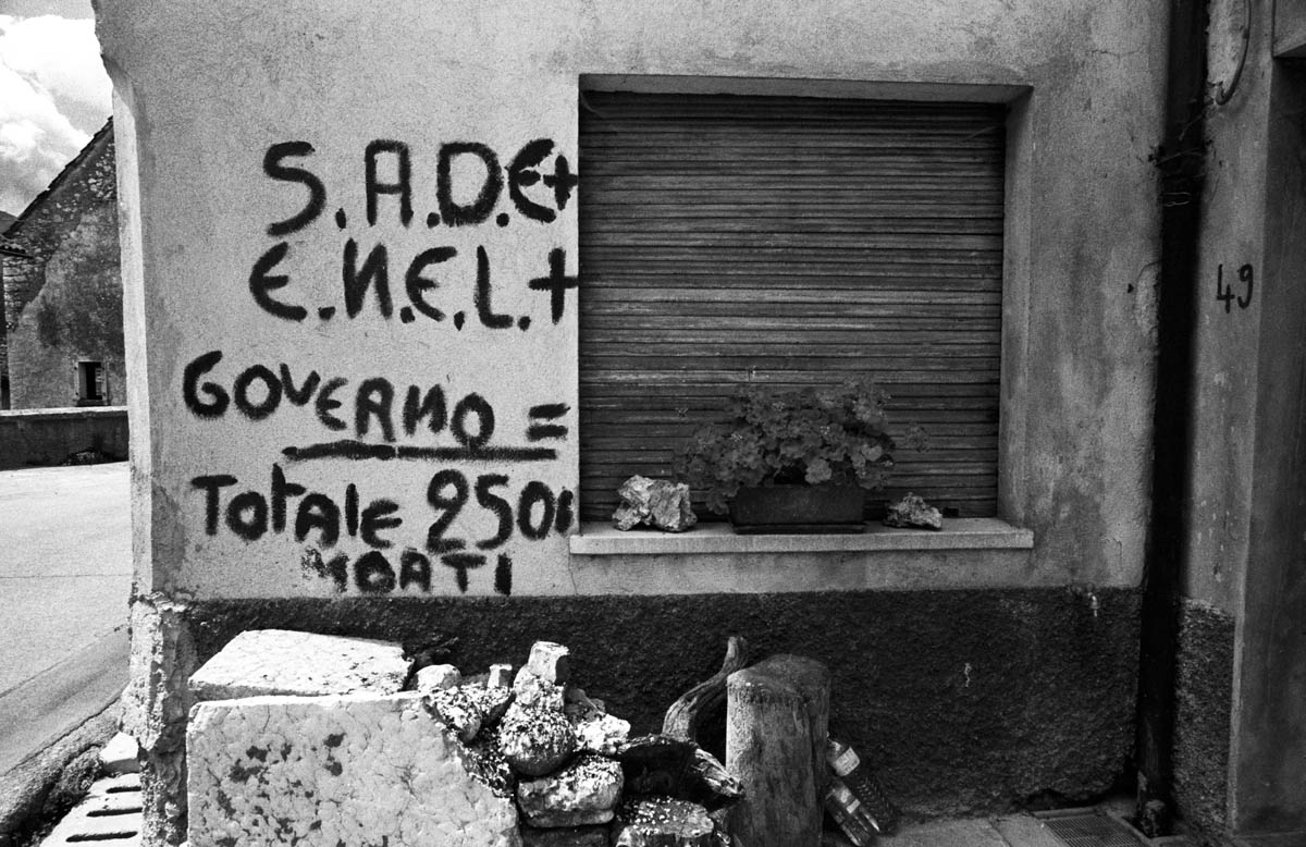 Writings on the wall in Erto from the period just after the disaster.