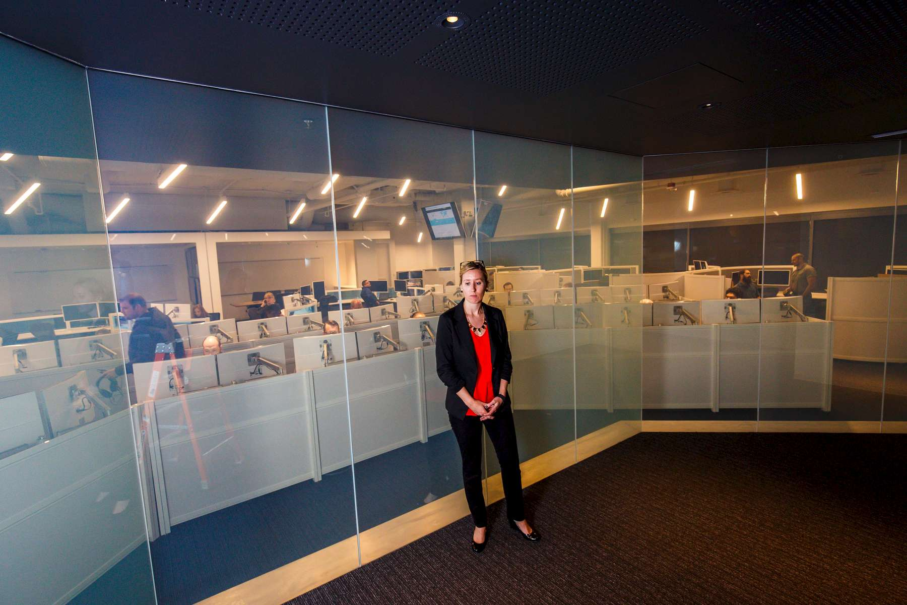 Redmond, WA., November 12, 2015: Microsoft President and General Counsel Brad Smith stands inside the company's new cybersecurity operations center. The company has gone from being the punching bag of the industry and poster boy for bad security practices to being well respected, even by people who normally love to hate on Microsoft. Photograph by Evan McGlinn for The new York Times