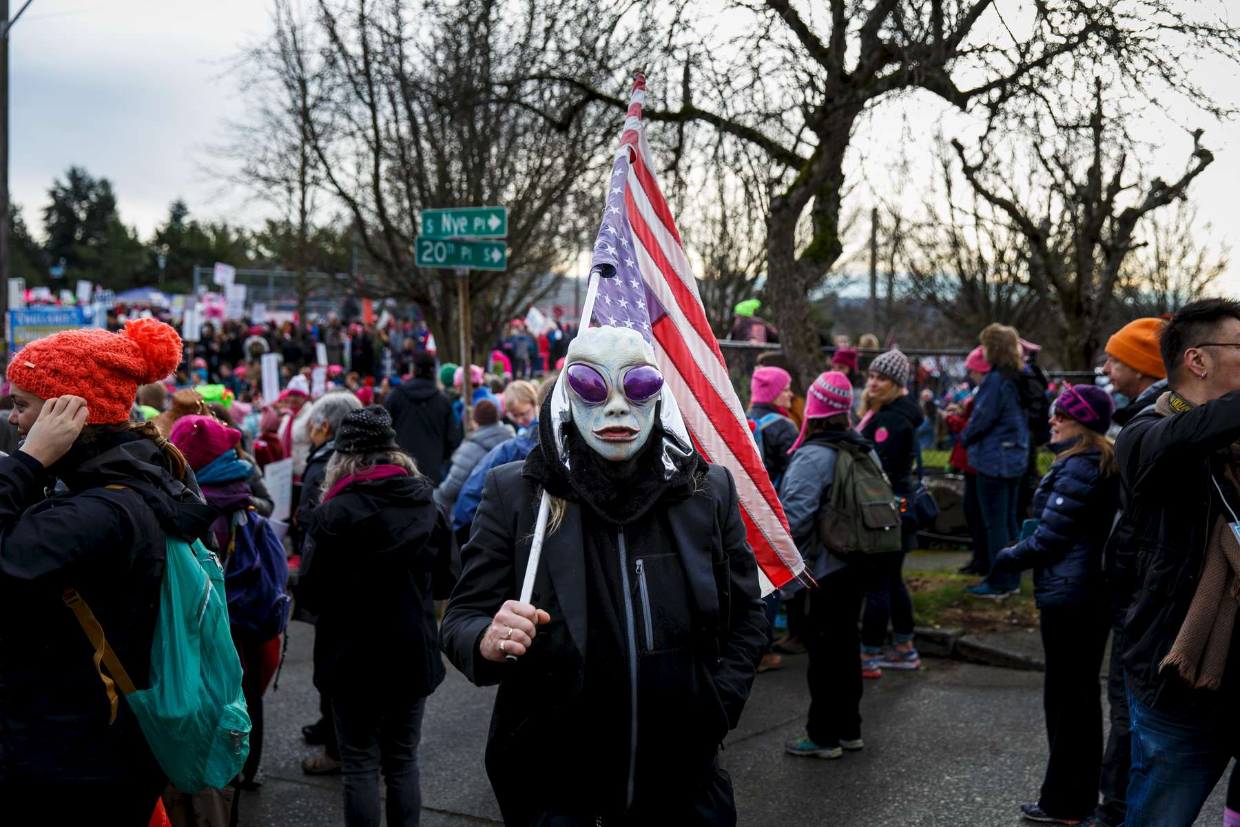 Seattle, WA., January 21, 2017: Thousands participate in the Women's March in Seattle to protest against Donald Trump. Photograph by Evan McGlinn for The New York Times.