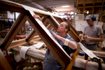 Workers at Duratherm Window Corporation in Vassalboro, ME. Duratherm is one of the leading makers of wooden architectural windows in the world.