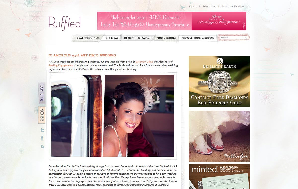 Carrie and Michael's Vintage themed wedding photographed by Callaway Gable is featured on Ruffled Blog.