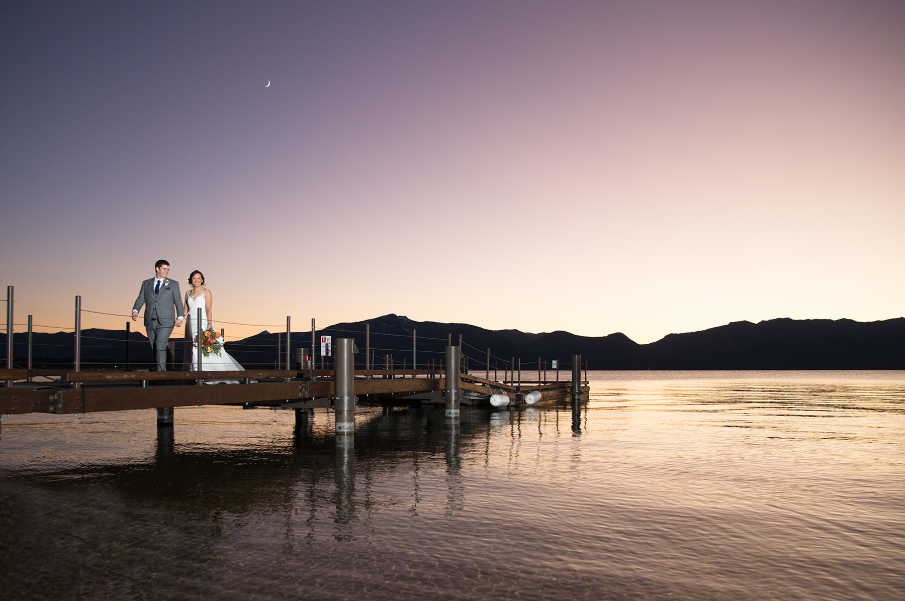 Edgewood-pier-wedding-sunset-Tahoe