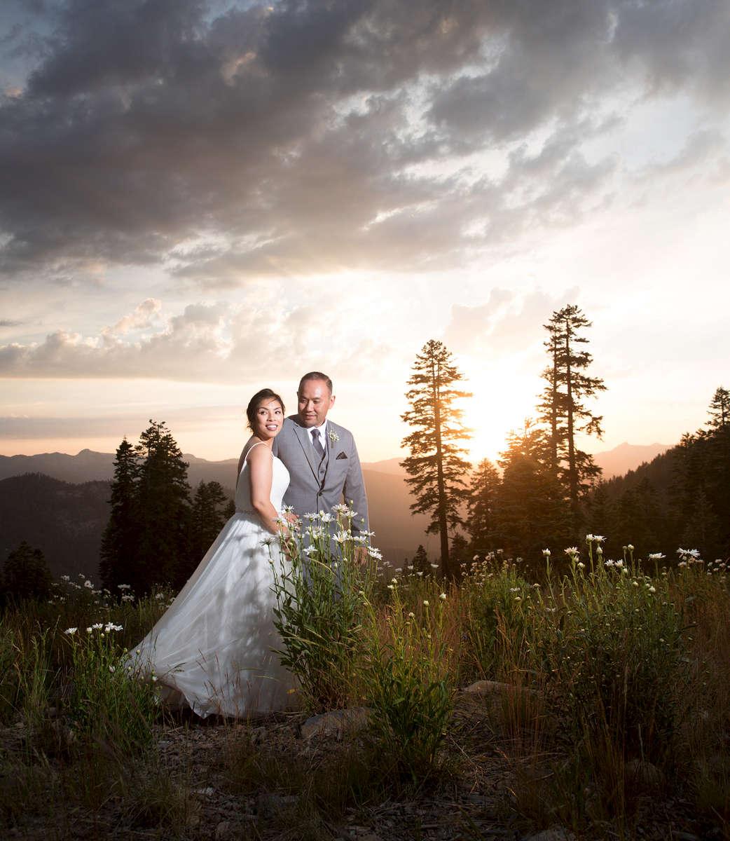 Bride and groom at the Zephyr Lodge, Northstar, Lake Tahoe