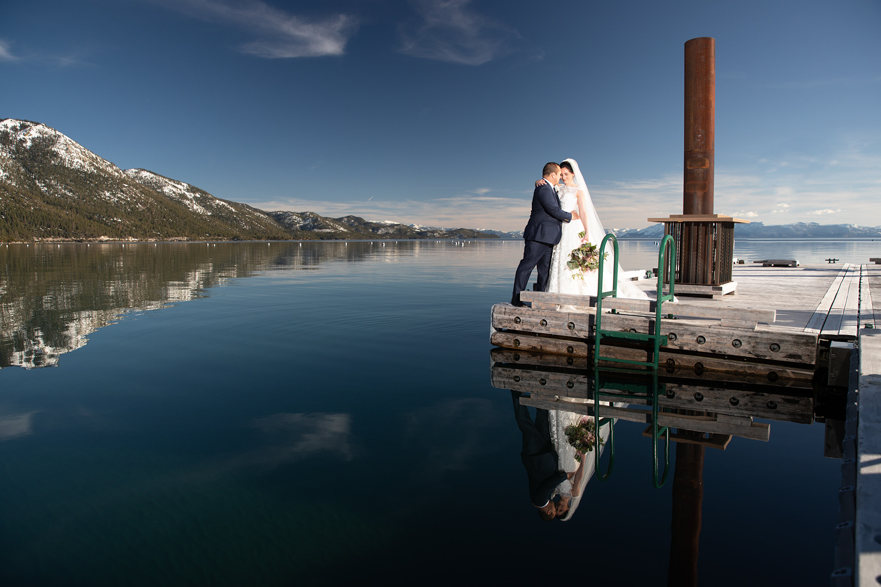 bride-and-groom-Tahoe-pier-wedding-spring