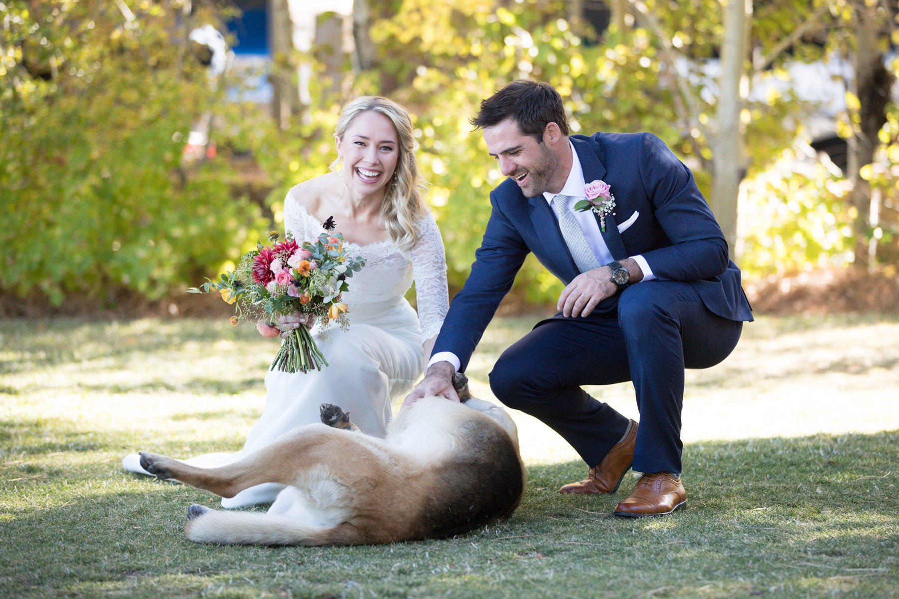 bride-and-groom-with-lovely-dog