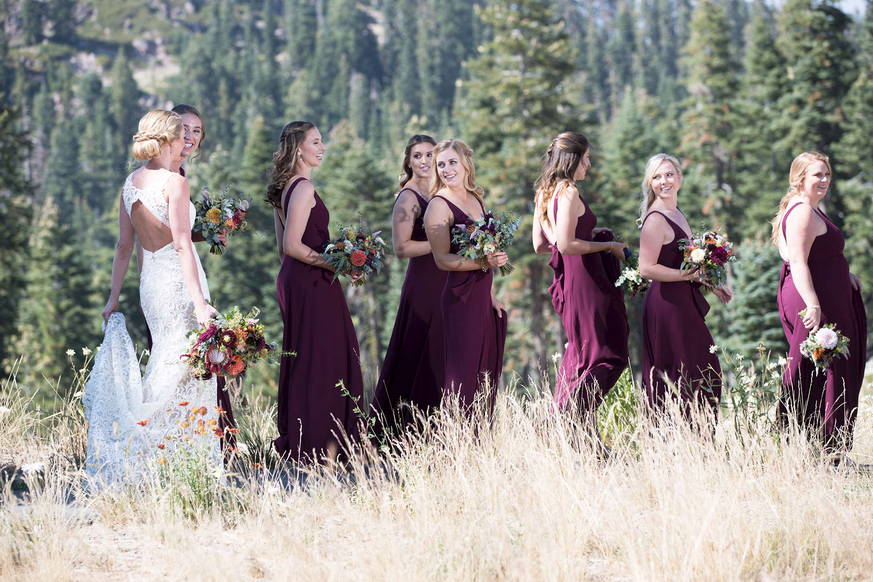 bridesmaids-walking-Zephyr-Lodge-Tahoe