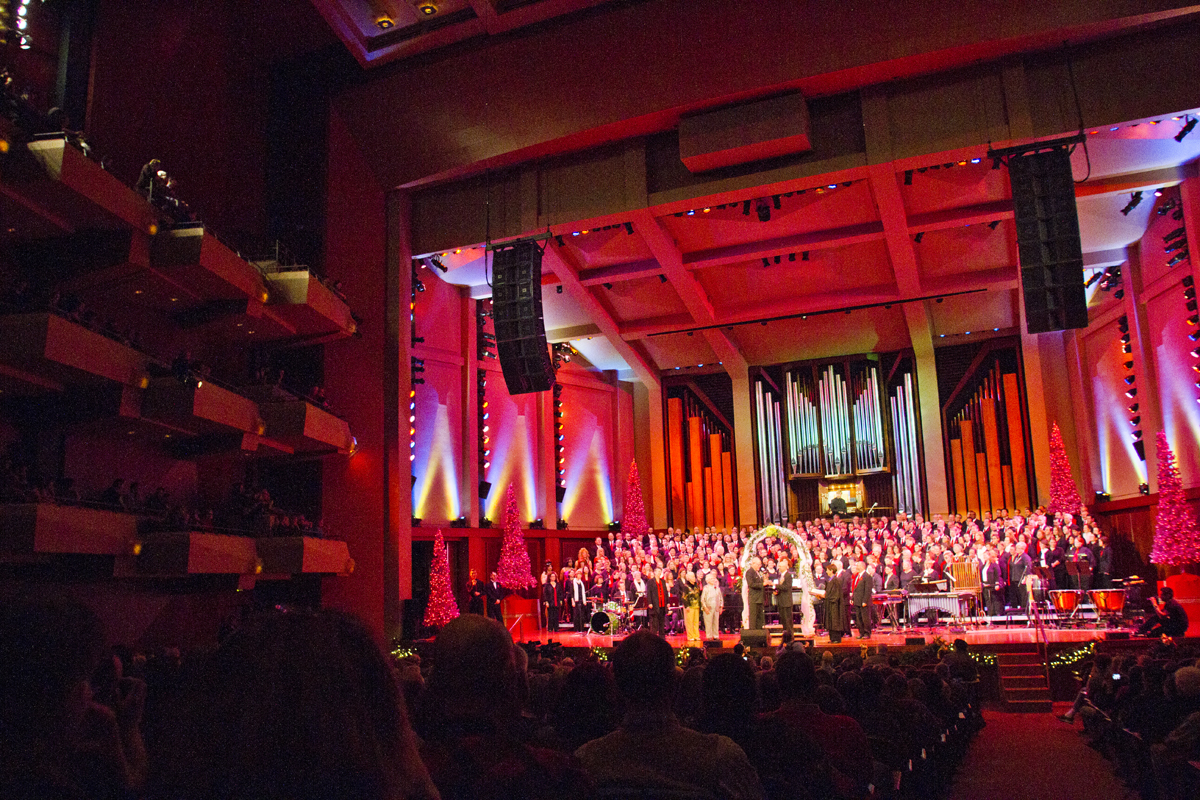 Thousands packed Benaroya Hall for the Seattle Men's Chorus Holiday Concert/ Wedding Celebration in Seattle, Wash., on December 9, 2012. tying the knot onstage is Donald Jenny (left) and Neil Hoyt, from Bellevue, Wash., who have been partners for 23 years.  {quote}It's overwhelming.{quote} said Hoyt {quote}It's the biggest and best wedding party I can ever imagine.{quote}  Jane Abbott- Lighty and Pete-e Peterson, who have been romantic partners for 35 years were also wed. {quote}I just can't believe this is happening after all these years.{quote} said Peterson.Also,  Judge Anne Levinson oversaw the service. (© Karen Ducey 2012)
