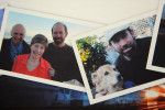 Photos of Warren with his mother and father on a cruise and also one with his dog Vanna.