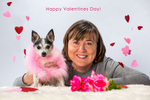 Doona Gonder and her dog Mr. Sparky photographed during Valentines Day Pet Photography mini sessions in Edmonds, WA on February 11, 2018. (© Karen Ducey)