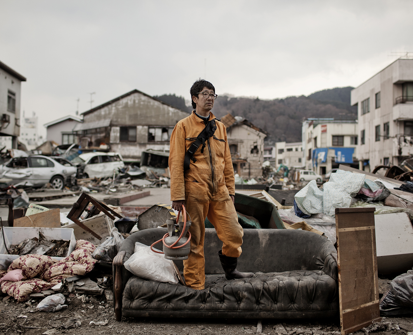 Shigeru Sano Owner of a Liquor shop complitely destroyed by the Tsunami.He use to sell Italian and French Wine to all Iwate prefecture, March 30th, 2011.A devastating six-metre-high tsunami sweeps into the port city of Kamaishi in north-east Japan following an earthquake of up to 8.9 magnitude on march 11th.Kamaishi famous breakwater was in the Guinness World Records as the deepest on the planet. It was a product of decades of research on wave dynamics and dissipation. But the tsunami made short work of it and destroied half part of the city.