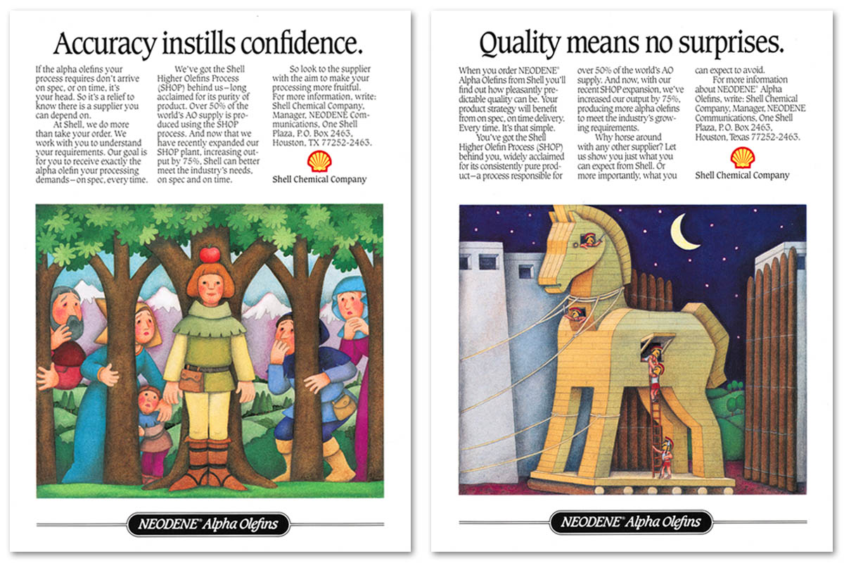 Trade advertisements for Shell Chemical Company's Neodene® alpha and internal olefins. Headlines and illustrations working together to remind customers of Shell's reliability.
