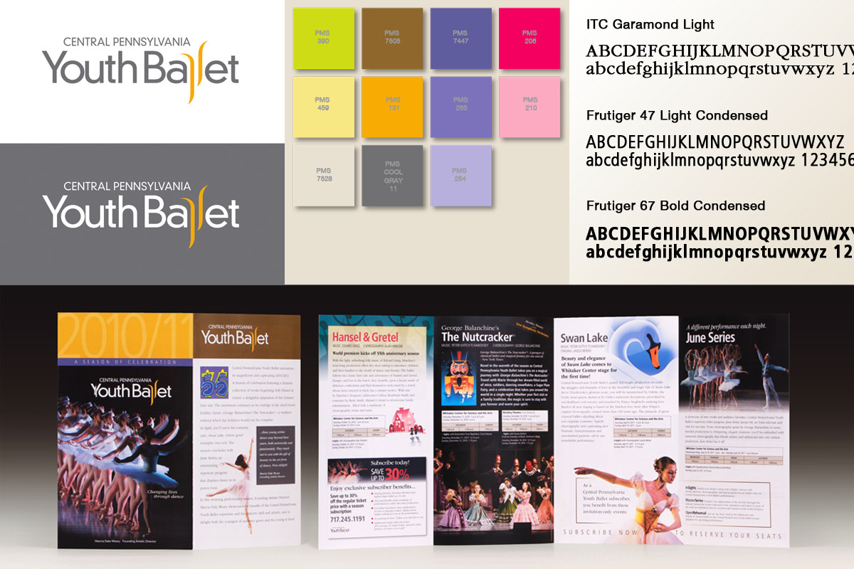 Central Pennsylvania Youth Ballet identity system and season subscription brochure.