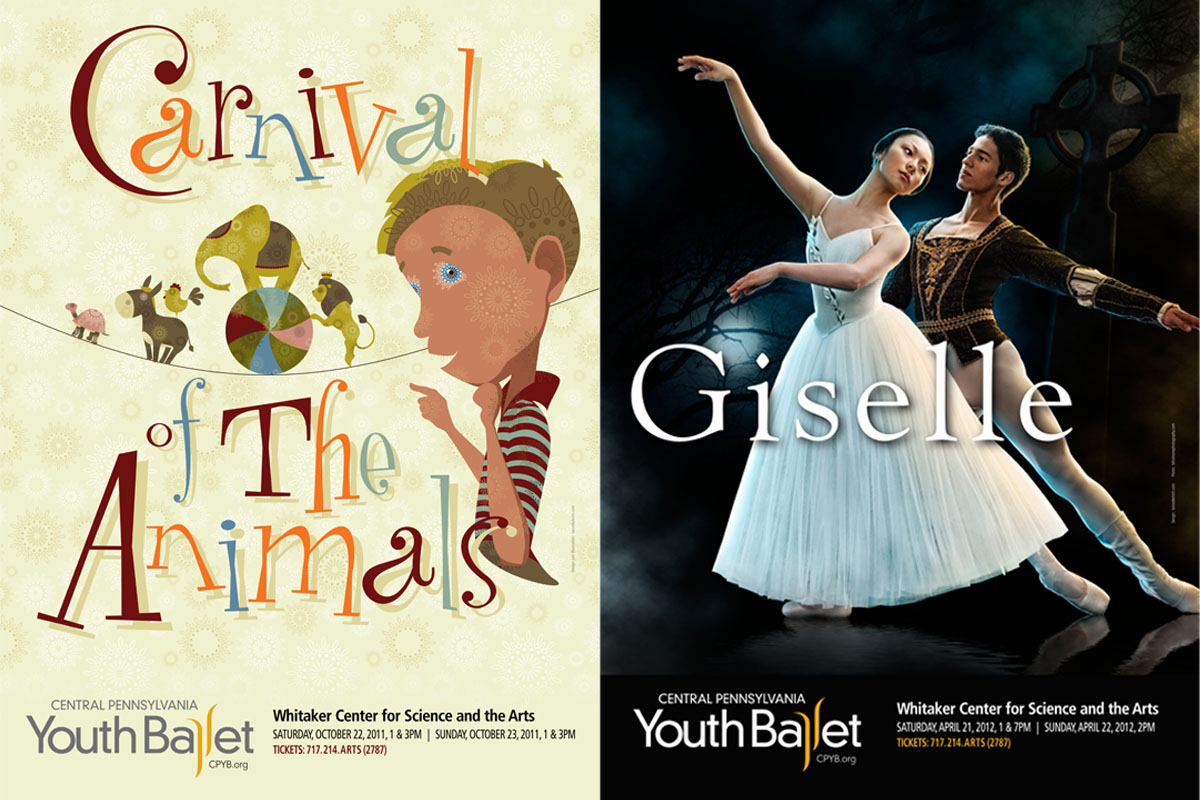 2011-2012 performance season posters for Central Pennsylvania Youth Ballet. The artwork for each perfomance is repurposed over and over for ads, posters, TV spots and outdoor leading up to each performance.