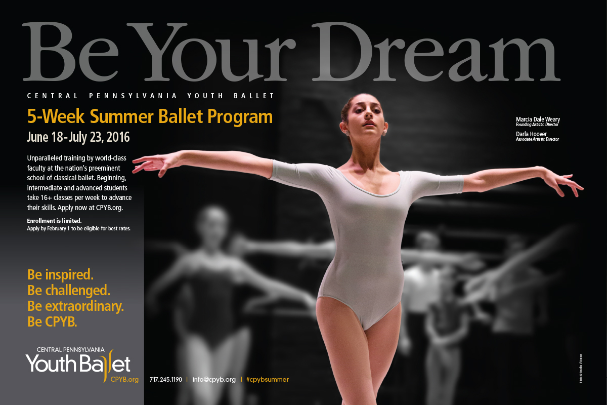 CPYB's Summer Ballet Program provides up-and-coming dancers with exceptional training and instruction. Each year the 5-week summer program draws well in excess of 500 students. This ad appears in the publications Pointe and Dance Magazine.