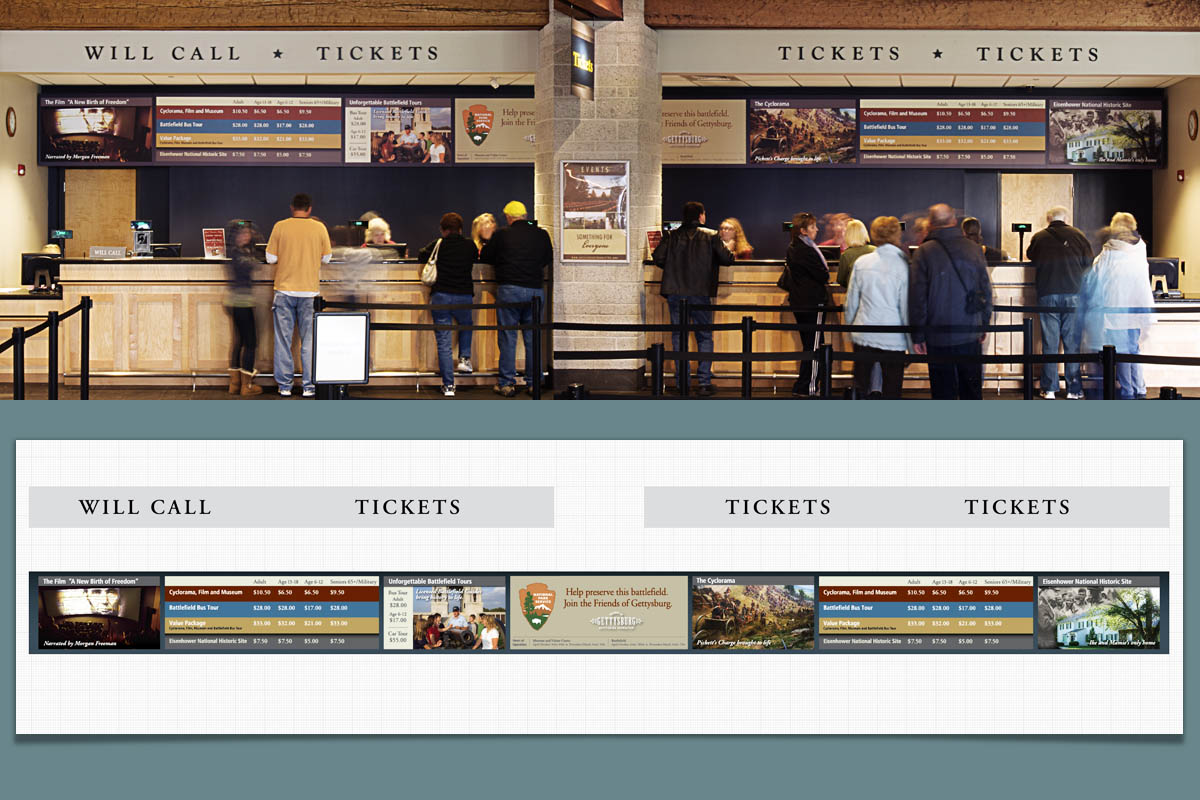 Ticket menus and accompanying graphics designed for the ticket counter at Gettysburg National Military Park.